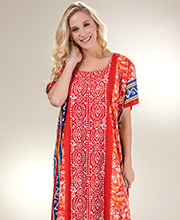 Plus Kaftans - Long Cotton Caftan in Red Mariachi