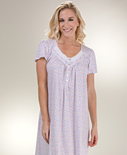 Aria Gowns - 100% Cotton Knit Long Cap Sleeve Nightgown - Spring Ditsy b66ac77b0