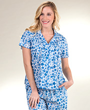 La Cera Short Sleeve Cotton Lawn Cropped PJs in Blooming Blue