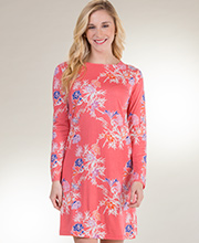 Cotton Rayon Sesoire Long Sleeve Sleep Shirt in Garden Delight