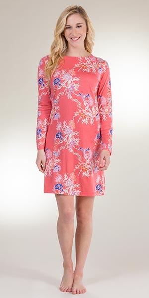 6f0e1b57dd Cotton Rayon Sesoire Long Sleeve Sleep Shirt in Garden Delight