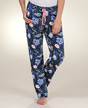 Sesoire Elastic Waist Cotton Rayon Knit Pajama Bottoms in Nighttime Garden
