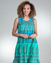 Plus Dresses - La Cera Cotton Sleeveless Muumuu Dress in Mint Print