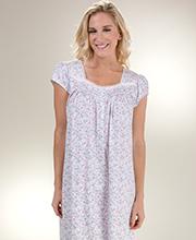 Cotton Knit Eileen West Long Cap Sleeve Gown in Vine Mystique 241bbdba9