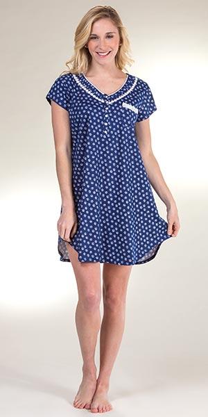Eileen West Nightshirt - Cotton Knit Short Sleepshirt in Shell Cottage d502aa921