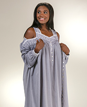 Peignoir Set by Eileen West - Cotton Sleeveless Gown and Robe in Gray Chambray