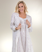 Eileen West Peignoir Set - Cotton Gown and Robe in Misty Rosebud