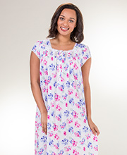 Cotton Modal Knit Nightgown - Eileen West Cap Sleeve Mid in Effusion Floral
