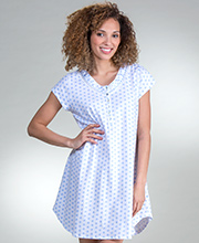 Sleep Shirt by Eileen West - Cotton Knit V-Neck Short Gown in Twirly Blue