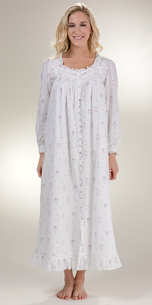 087bde8509 Long Sleeve Robe Button Front Gown by Eileen West - Long Cotton Robe in  Misty Rosebud