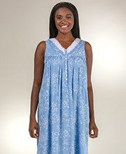 1347eda44f Eileen West Long Nightgowns - Rayon Sleeveless V-Neck Gown in Mayflower Blue
