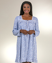 100% Cotton Knit Short Gowns - Eileen West Long Sleeve Nightgown in Chivalry Blossom
