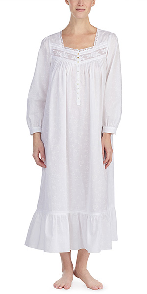 White Cotton Lawn Nightgown - Eileen West Long Sleeve Ballet Gown in Floral  Veil cfbaa0ccc