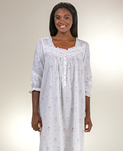 Eileen West Cotton Lawn 3/4 Sleeve Ballet Gown in Misty Rosebud