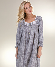 Eileen West Long Cotton Lawn 3/4 Sleeve Nightgown in Valley Flowers