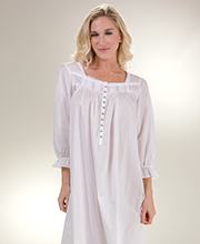 0d9918e523 3 4 Sleeve Eileen West Cotton Lawn Ballet Nightgown in Valley White