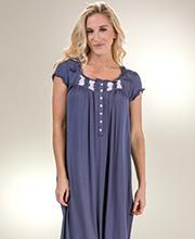 Women s Eileen West Cap Sleeve Modal Knit Plus Nightgown in Gray Beauty 9e3dfd8a6