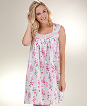Short Eileen West Cotton Lawn Sleeveless Nightgown in Asian Floral