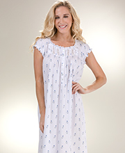 Short Sleeve Eileen West Cotton Knit Gown in Lullaby Rose