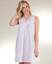 Short Eileen West Cotton Lawn Sleeveless Gown in Vienna White