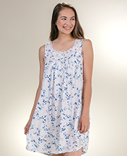 Eileen West Short Nightgowns - Rayon Sleeveless Nightgown in Harvest Blue
