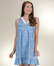 Short Rayon Nightgown by Eileen West - Sleeveless V-Neck Nightgowns in Mayflower Blue