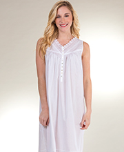 Eileen West Long Nightgown - Sleeveless Cotton Lawn In Vienna White