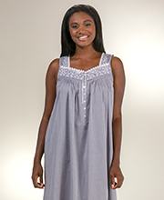 Sleeveless Nightgowns - Eileen West Long Cotton Lawn Gown in Gray Chambray
