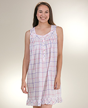Eileen West 100% Cotton Swiss Dot Sleeveless Chemise - Berry Plaid