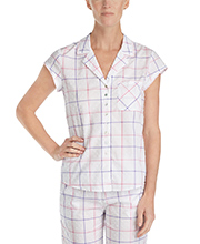 100% Cotton Eileen West Swiss Dot Capri Pajama Set - Berry Plaid