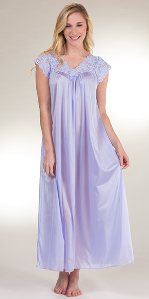 677f664a9 Shadowline Silhouette Flutter Sleeves Long Nightgown - Peri Frost