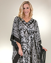 Women's Rayon Caftans - Fringed Scoop Neck Plus Sante Kaftan - Bohemian Charm