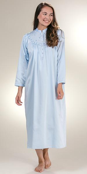Kayanna Brushed Back Satin Long Mandarin Collar Nightgown in Blue 967578d93