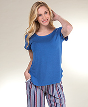 Long Kensie Pajamas - Short Sleeve Pajama Set in Blue Stripes