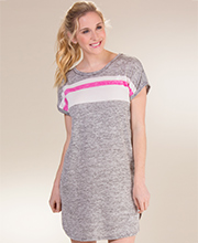 12f23397b59 Kensie Sleep Shirts - Short Sleeve Night Shirt in Marled Grey