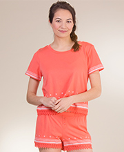 Kensie Cotton Polyester Short Sleeve Pajamas in Peach