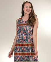 Cotton Sleeveless Dresses - La Cera Muumuu Dress - Mexicali Crimson
