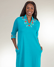 Metropolitan V-Neck Long 100% Cotton 3/4 Sleeve Caftan Dress in Poolside Fiesta