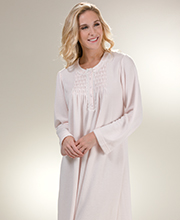 Plus Nightgowns - Miss Elaine Long Sleeve Cuddleknit Gown in Peach