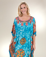 One Size Sante Long Polyester Woven Kaftan in Poolside Paisley