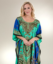 One Size Caftans - Sante Long Woven Polyester Kaftan in Water Wonder