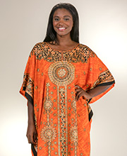Sant&eacute Woven Polyester One Size Fits Most Kaftan - Floral Tangerine