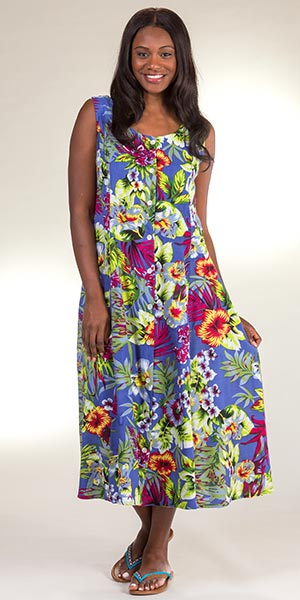b08fe89c3aea83 Button-Front Rayon Dress - Metropolitan Sleeveless Long Sundress in  Hawaiian Garden