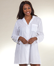 La Cera Boutique Long Sleeve Button Down Cotton Night Shirt in Essential White