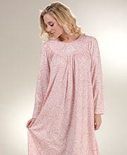 Calida Cotton Nightgowns - Long Sleeve Knit Nightgown in Pink Arbor