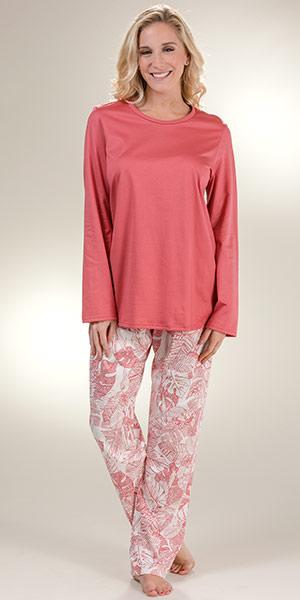 Pajamas by Calida - Long Sleeve Cotton Knit Full Length in Garnet Ferns 0d4c034c6
