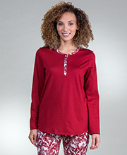 Cotton PJs - Calida Long Sleeve 100% Cotton Knit Pajamas - Mystic Ruby
