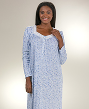 Cotton Blend Nightgowns by Aria - Long Sleeve Knit Gown - Ditsy Lace