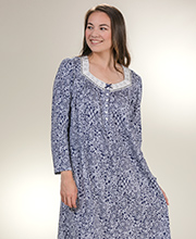 Aria Nightgowns - Long Sleeve Cotton Knit Gown in Navy Lace