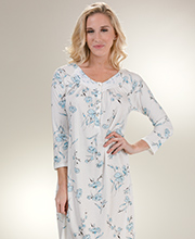 Long Sleeve Aria Poly Blend Nightgown in Aqua Spray
